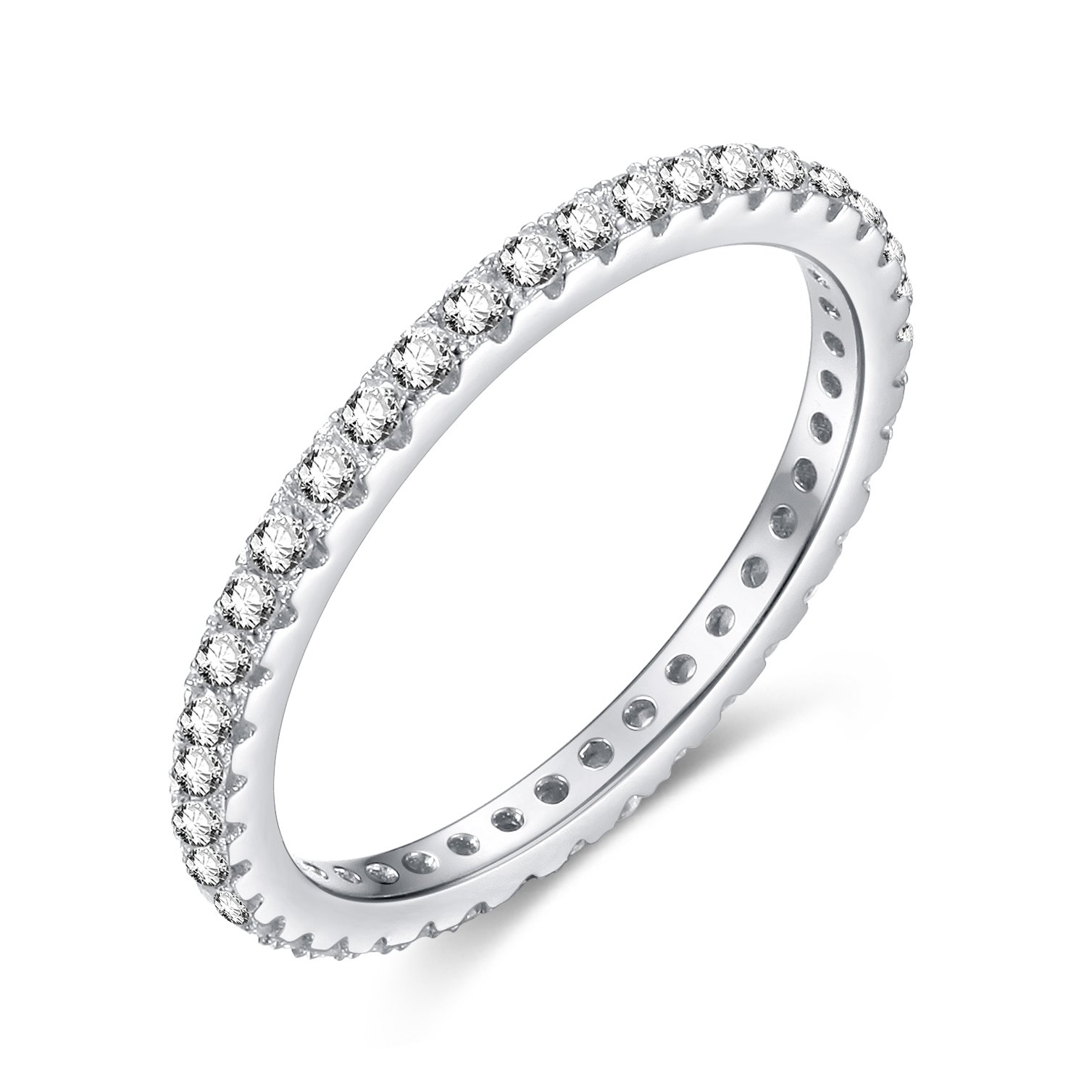 EAMTI 2mm 925 Sterling Silver Wedding Band Cubic Zirconia Full Stackable Eternity Engagement Ring Size 4-10 (Silver, 10.5)