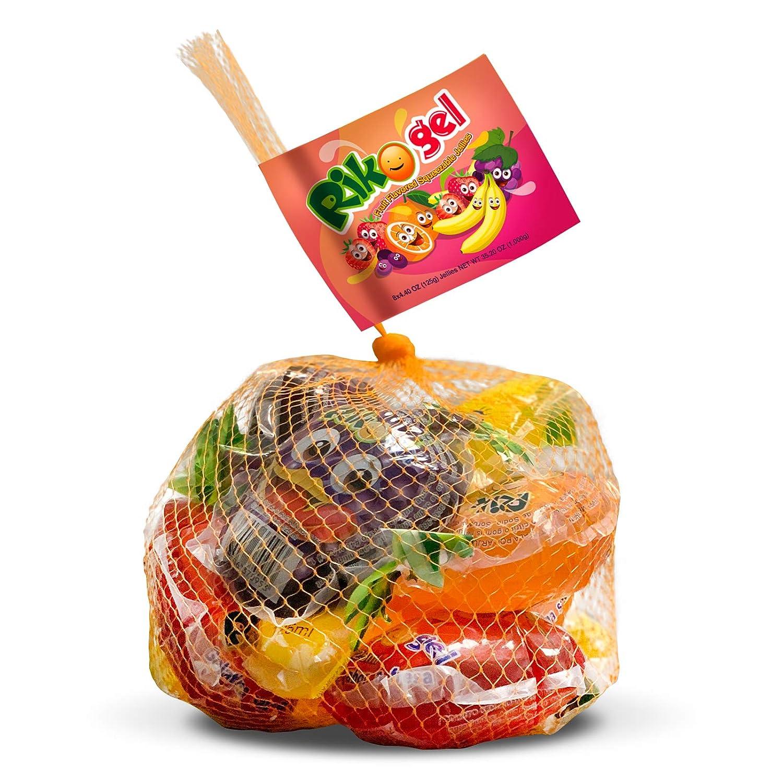 RikoGel Gely Fruit Flavored Squeezable Jellies 125 ml - Gelatinas de Frutas 8 unidades (Pack of 12)