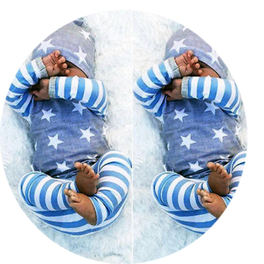 Set Newborn Baby Girl Boy Clothes Long Sleeve Striped Tops+Pants Hat 3pcs Outfit Set