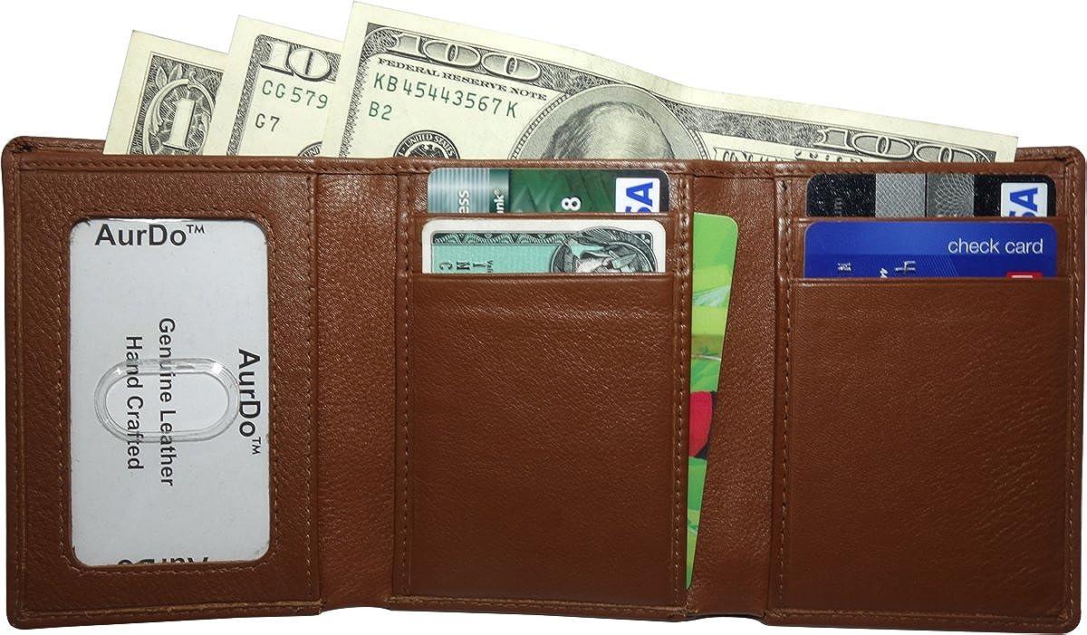 AurDo Mens RFID Blocking Extra Capacity Multi Card Trifold Wallet With ID Window