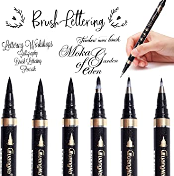 Black Brush Marker Ink Pens for Lettering,... 6 Pieces Refill Calligraphy Pens