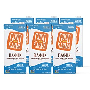 Good Karma Plant-Powered Flaxmilk, Classic Vanilla, 32 oz Shelf-Stable Carton (Pack of 6) Dairy-Free, Plant Based Milk Alternative