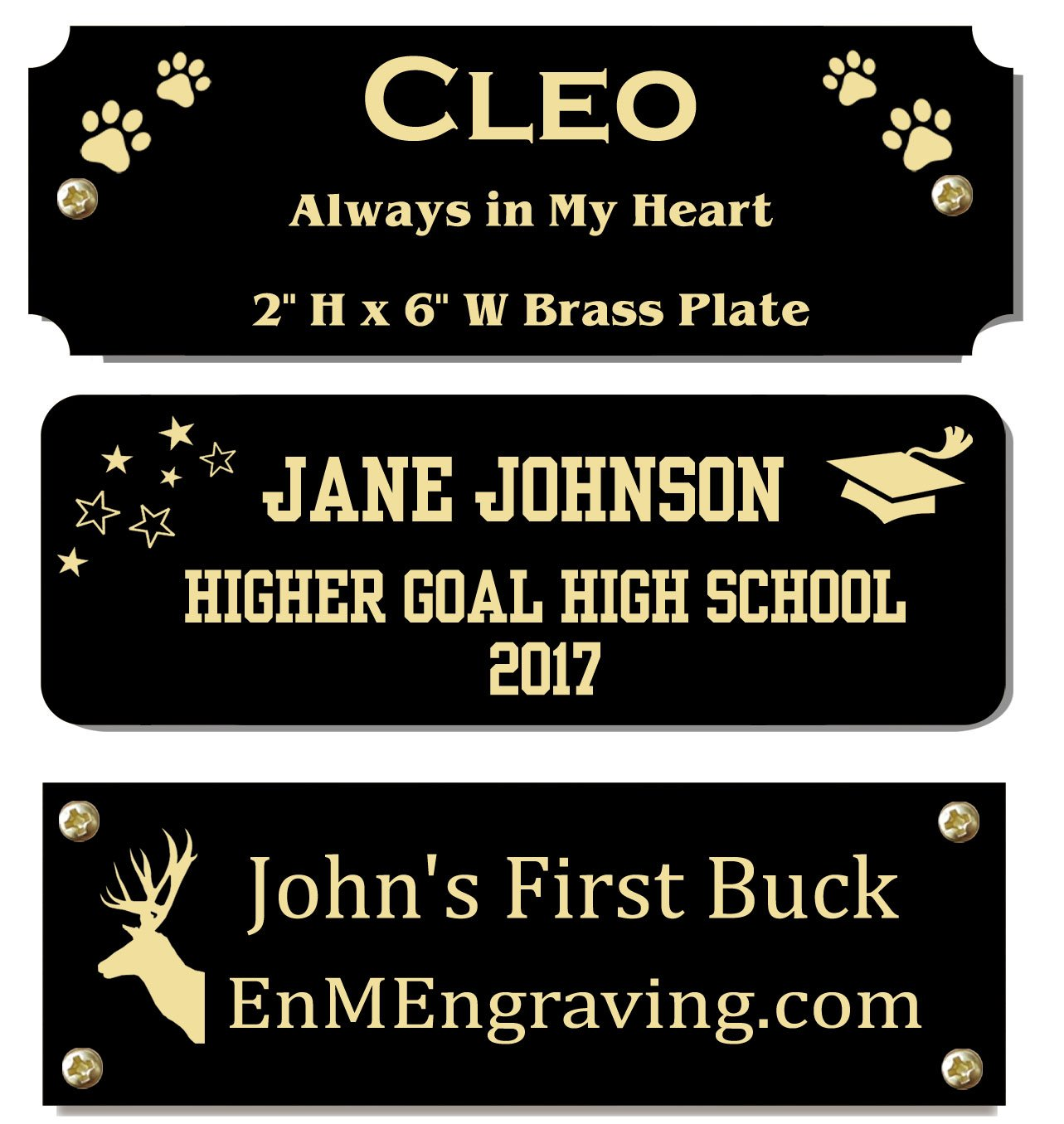 2'' H x 6'' W, Black Color Solid Brass Satin Name Plates, Personalized Custom Laser Engraved Nameplate Label Art Tag for Frames Notched Square Or Round Corners, Made to Order, Made in USA