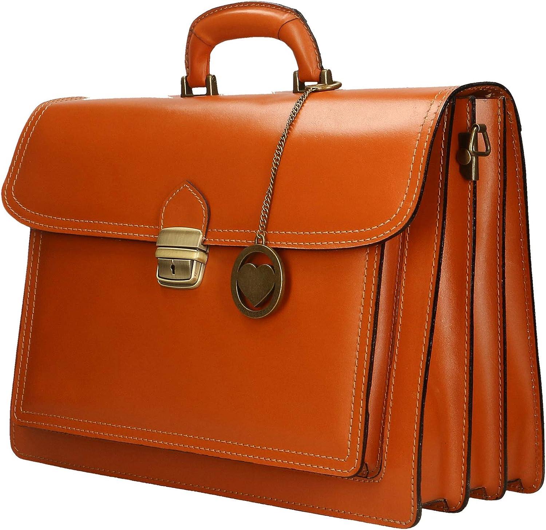 Chicca Borse Sac à main Porte-documents en cuir véritable Made in Italy 39x30x18 cm Bronzage