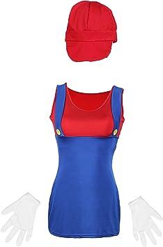 Emmas Wardrobe Mario Damas Disfraz Incluye por Rojo o Verde ...