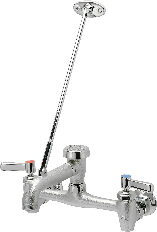 "Zurn Z843M1-RC Chrome-Plated Cast Brass Sink Faucet with 6"" Vacuum Breaker Spout, Lever Handles, Pail Hook, 3/4"" Hose End and Brace, 8"""
