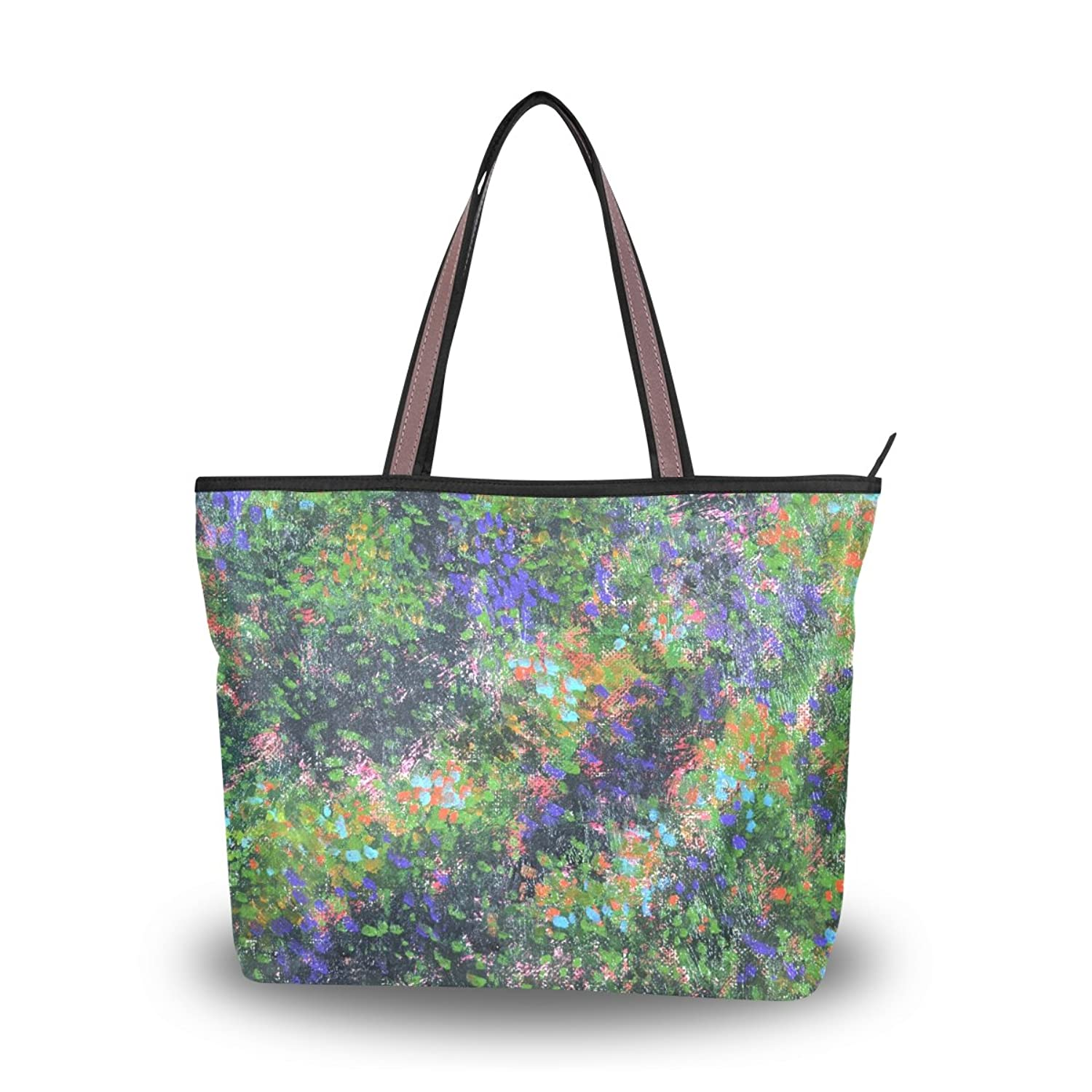 Leezone Microfiber Shoulder Handbags with Oil Paint Printing