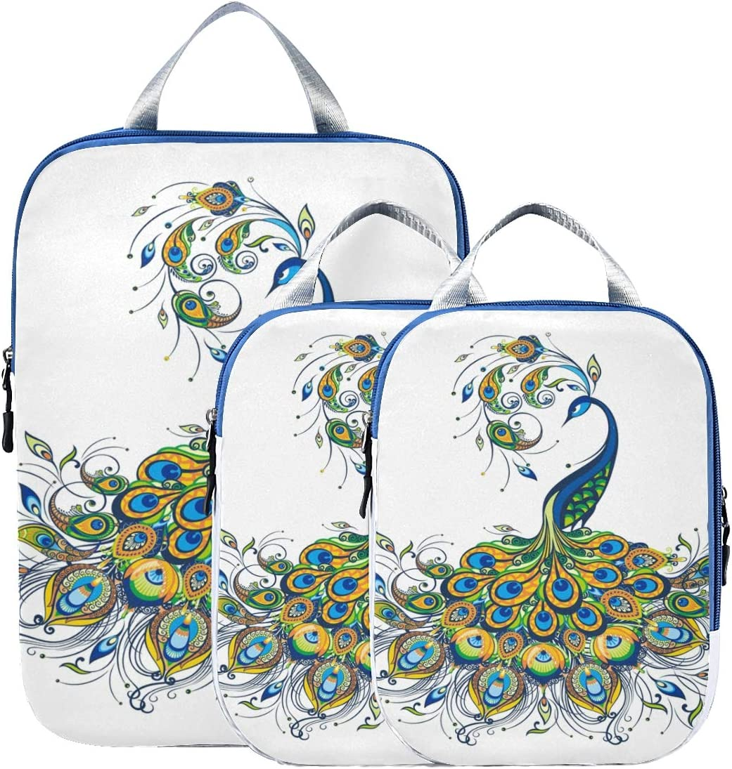 Peacock Drawing Fantasy 3 Set Packing Cubes,2 Various Sizes Travel Luggage Packing Organizers c