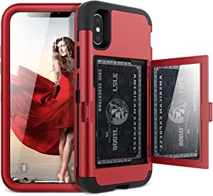 iPhone X/XS Wallet Case - WeLoveCase Defender Wallet Design with Hidden Back Mirror and Card Holder 3 in 1 Hybrid Heavy Duty Protection Shockproof Armor Protective Case for iPhone X/XS - Red