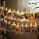 LED Foto Clip Stringa Illuminazione,Ubegood 40 Foto Clips Batteria Alimentato LED Immagine Illuminazione Luci String Lights Decorazione Perfetto per Appendere Fotos, Appunti, Arti