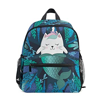 09ee23d3e126 ZZKKO Cat Unicorn Mermaid Kids Backpack School Book Bag for Toddler Boys  Girls