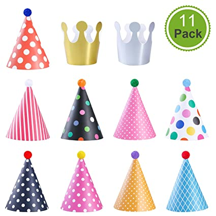 NUOLUX Party Cone Hat With Pom For Kids Adults Fun Birthday Decorations 9 Paper 2 Crown Hats