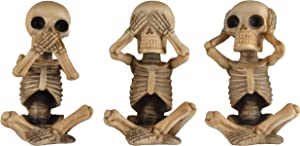 JORAE Skeletons Statue Hear See Speak No Evil Baby Halloween Figurines Home Decorative, Set of Three, 4.8 Inches, Ivory Yellow Polyresin