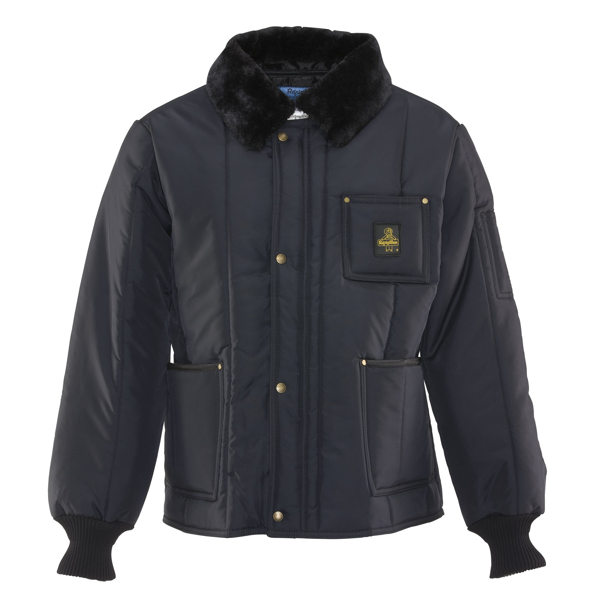 Refrigiwear Men's Water-Resistant Insulated Iron-Tuff Polar Jacket with Soft Fleece Collar (Navy Blue,XL)