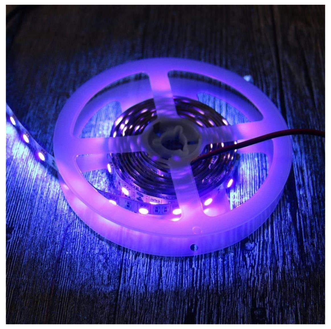 AMARS Black Lights LED Strip, DC12V 24W 5050 SMD 2M/6 6FT 390nm-405nm  Flexible Blacklights Fixture