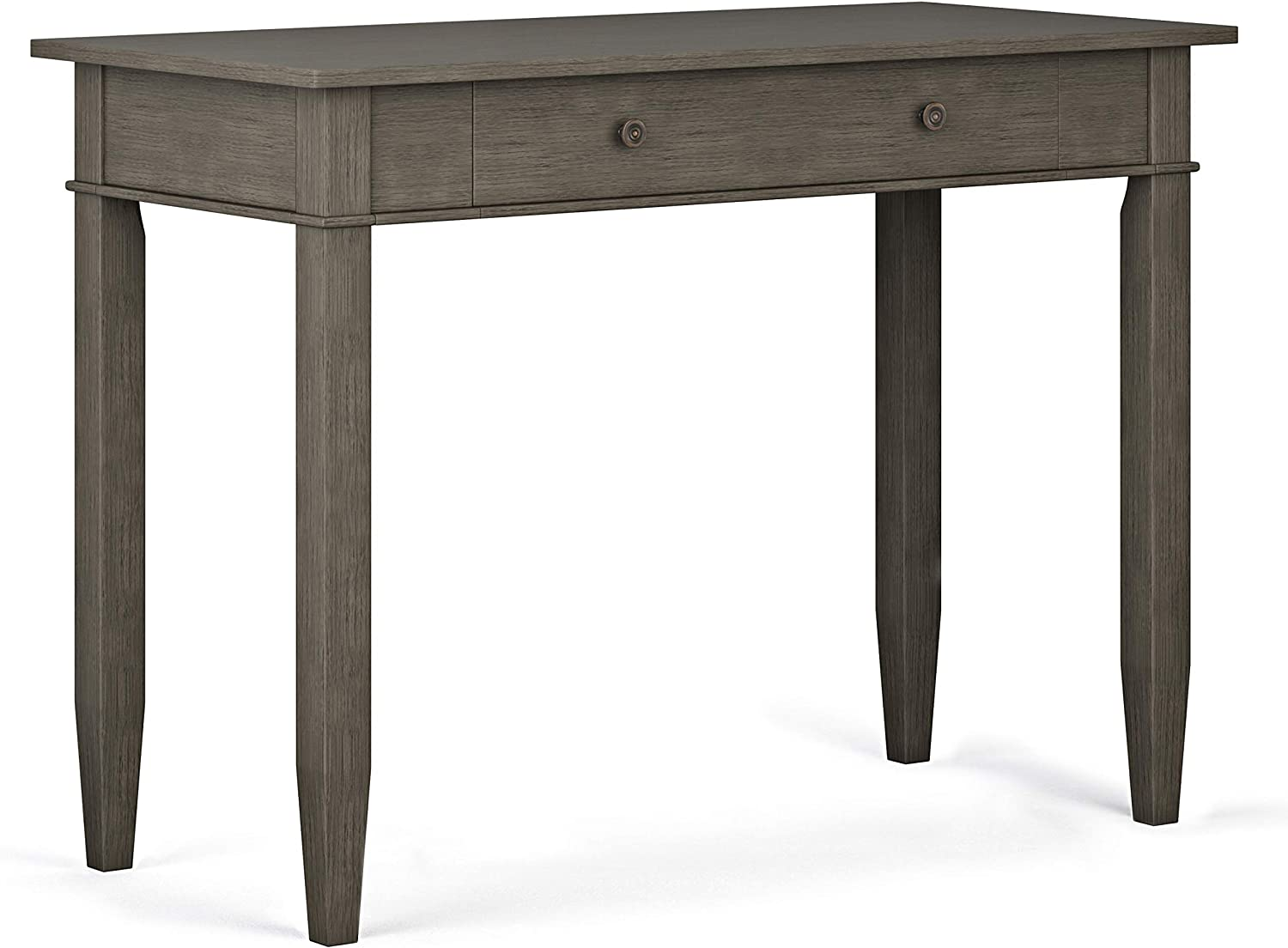 SIMPLIHOME Carlton SOLID WOOD Contemporary Modern 42 inch Wide Home Office Desk, Writing Table, Workstation, Study Table Furniture in Farmhouse Grey with 1 Drawer