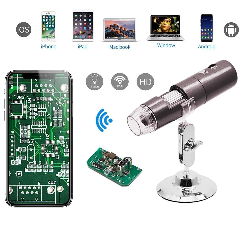 Teepao Microscopio Digital USB 1000x8 LED de mano Wifi Microscopio HD 1080p Endoscopio Cámara con Soporte de Metal para Adultos Niños, Foto y Vídeo Disponible, Compatible con iOS Andriod Mac OS Windows