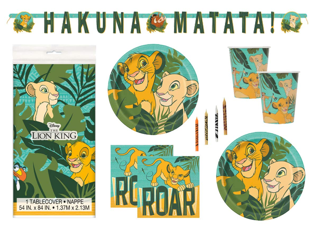 The Lion King Theme Birthday Party Supplies Set Serves 16 - Tablecover, Banner Decoration, Plates, Napkins, Cups and Candles - Nala and Simba by Lion King