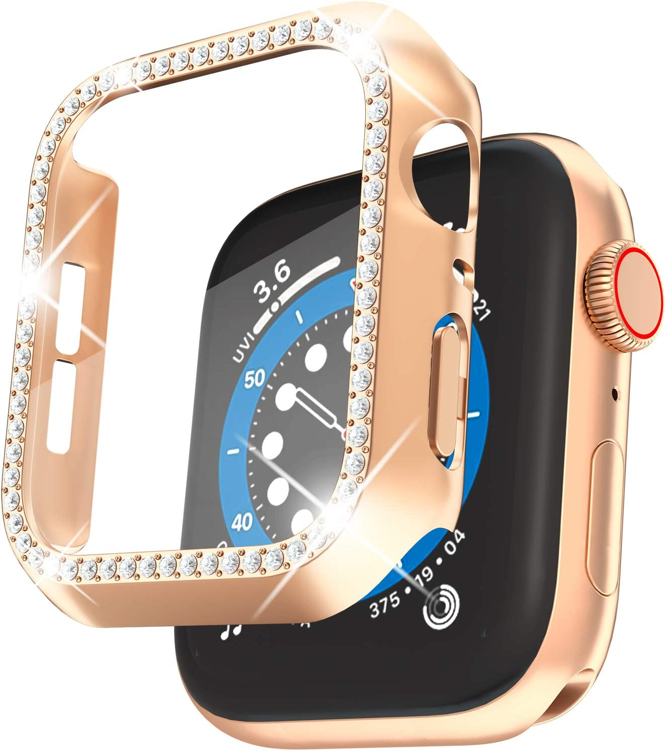 QVLANG Compatible Apple Watch Screen Protector Case 38mm 40mm 42mm 44mm, Bling Series Cover, Women Diamond case with Built-in Screen Protector for iWatch Series 6/5/4/3/2/1/SE (Rose Gold, 40mm)