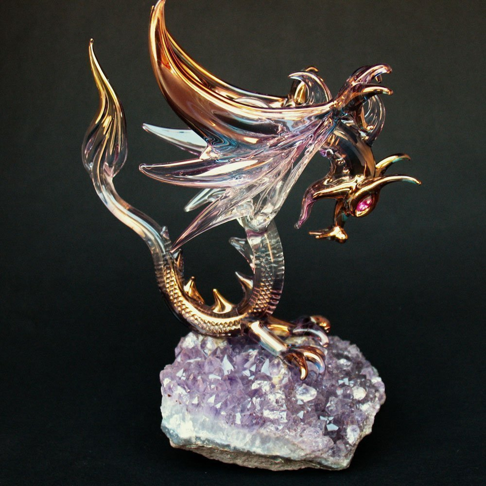 Dragon Figurine of Hand Blown Glass Winged Flying by Prochaska Gallery