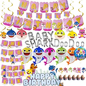 Baby Shark Party Supplies Baby Shark Birthday Decorations - Birthday banner High chair Banner Number Banner Spiral pendant Shark Shape Balloon Cake Topper Shark welcome sign on large door