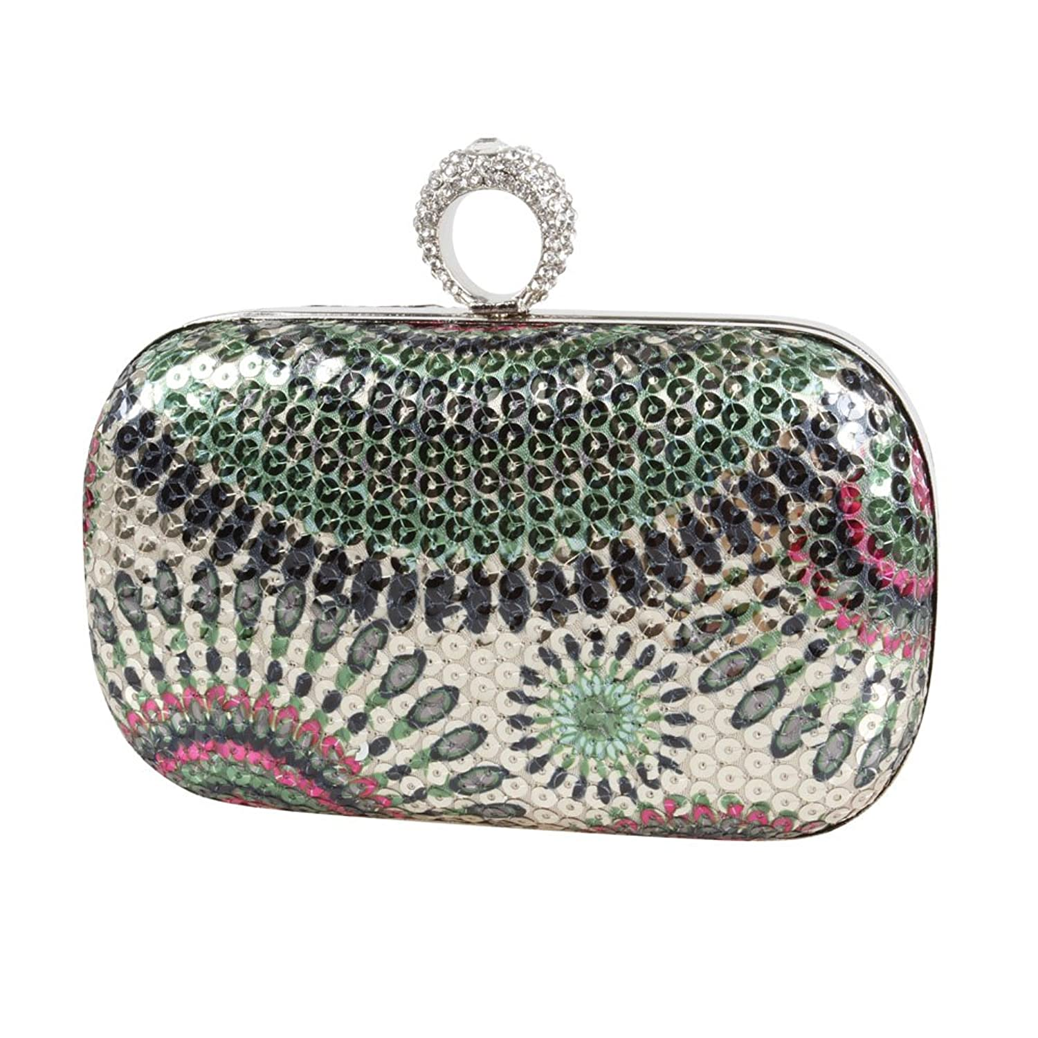 BMC One Ring Rhinestone Studded Knuckle Duster Mini Sequin Womens Evening Clutch Purses Free Spirit Collection - Various Designs