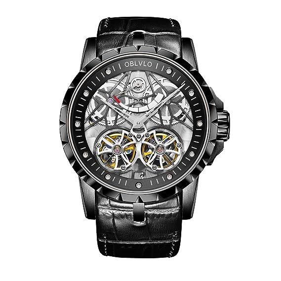 Relojes de esqueleto de lujo para hombres relojes militares Tourbillon reserva de energía OBL3609: Amazon.es: Relojes