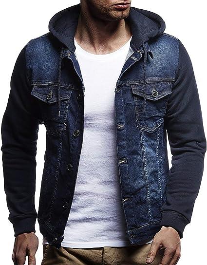 Amade Gジャン ジージャン デニムジャケット フード付 袖切替デザイン おしゃれ スリム メンズ カジュアル