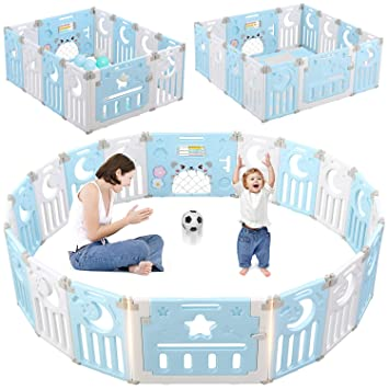 BPA-Free Kids Activity Center Safety Play Yards with Gate for Boys Girls Toddler Infants Indoor Outdoor White Gray 14 Panel Gimars Upgrade Double Anti-slip Design Sturdy Foldable Baby Playpen Fence