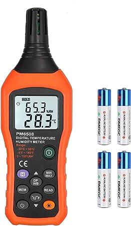 Indicateur de Température et d'Humidité Numérique Hygromètre Portable Thermomètre avec Température Ambiante Test de Point Rosée Bulbe Humide Jauge de