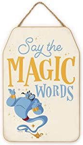 Open Road Brands Disney Aladdin Genie - Say The Magic Words Hanging Wood Wall Decor for Kids' Room, Play Room, Bedroom, or Movie Room