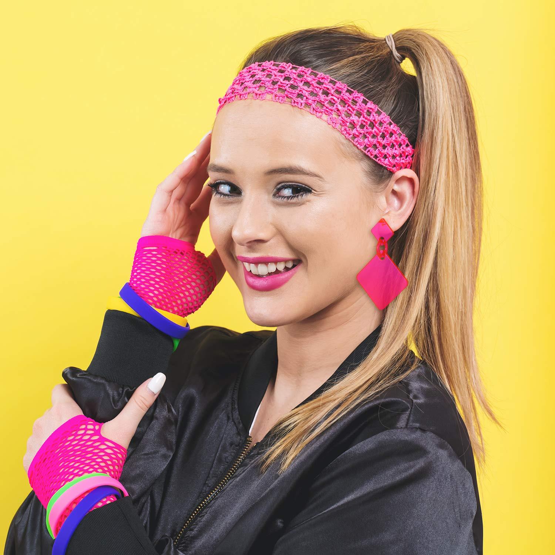 3 Pairs 80s Earrings Neon Earrings Retro Square Dangle Earrings for Women Girls Cosplay Party Accessory