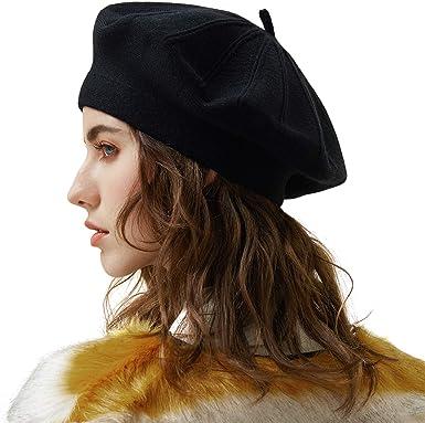 Women French Beret Hat Autumn Winter 100/% Wool Knitted Cap Beret Beanie Winter Hat