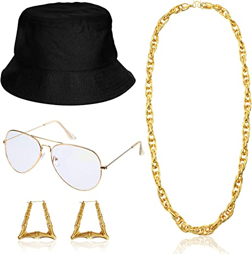 Lohoee 80s//90s Women Hip Hop Costume Kit Gold Chain DJ Rapper Bucket Hat Glasses Bamboo Hoop Earrings Punk Hip Hop Rapper Costume Kit