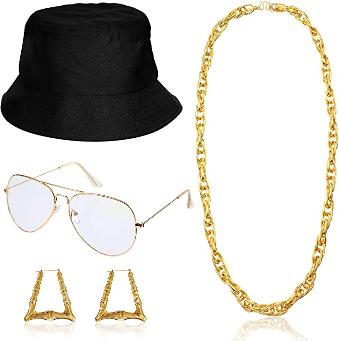 Rapper Accessories Set with Dollar Snapback Baseball Cap DJ Sunglasses Gold Plated Chain CHUANGLI 80s 90s Hip Hop Costume
