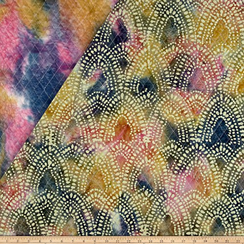 - Textile Creations Double Face Quilted Indian Batik Arches Blue/Pink/Yellow Fabric by The Yard, YEL