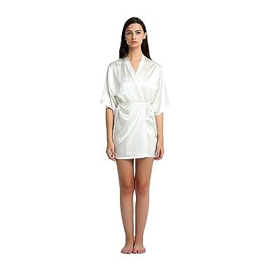 16145e2c45 JASMINE SILK Ladies Silk Kimono Dressing Gown-Ivory  Amazon.co.uk ...