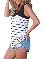 Chvity Women's Crochet Pocket Color Block Sleeveless T-Shirts Racerback Tank Tops