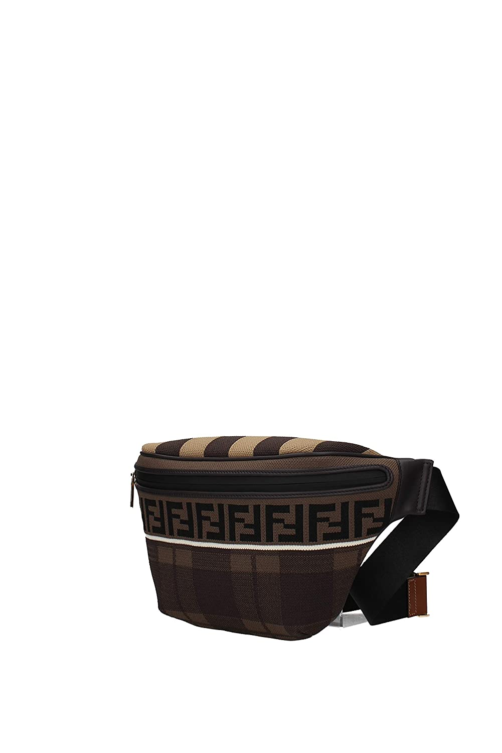 eca64af820cf Amazon.com  Fendi Brown Belt Bag Fanny Pack with Leather Trim and Knit  Fabric with Fendi logo 7VA434  Shoes