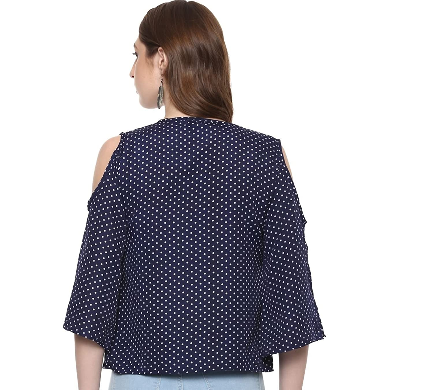 3f4fb334df6 ... indietoga women blue polka dots cold shoulder top western wear (plus  size xs to 7xl ...