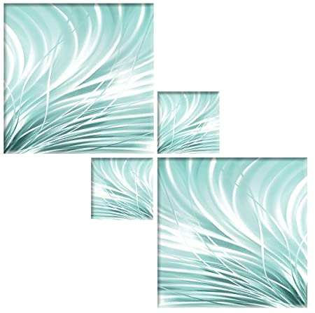 LARGE TURQUOISE GREY WHITE ABSTRACT CANVAS PICTURES SPLIT MULTI 4 PANEL 146cm Art