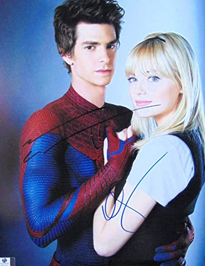 Andrew Garfield Emma Stone Dual Autographed 11x14 Photo Spider Man