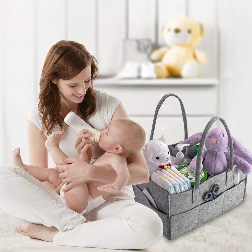 Baby Windel Caddy Filztasche A Auto und Reise, Tragbarer Wickeltisch Organizer Multifunktionale Wickeltasche Filzkorb Aufbewahrungsbox mit wechselbaren F/ächer f/ür Kinderzimmer