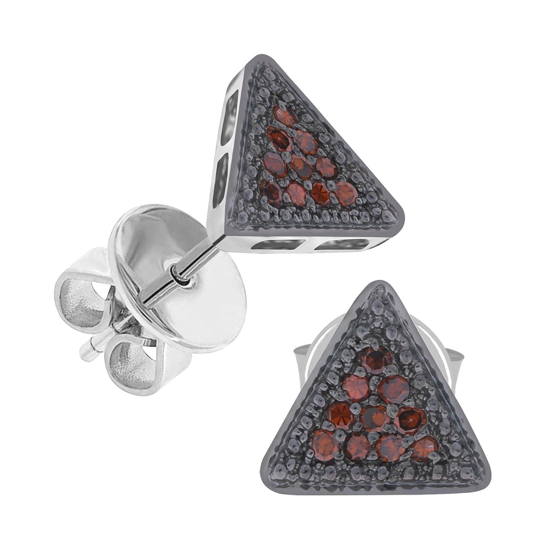 10k White Gold Prism Jewel Round Cognac Diamond Triangle Shaped Push Back Stud Earrings
