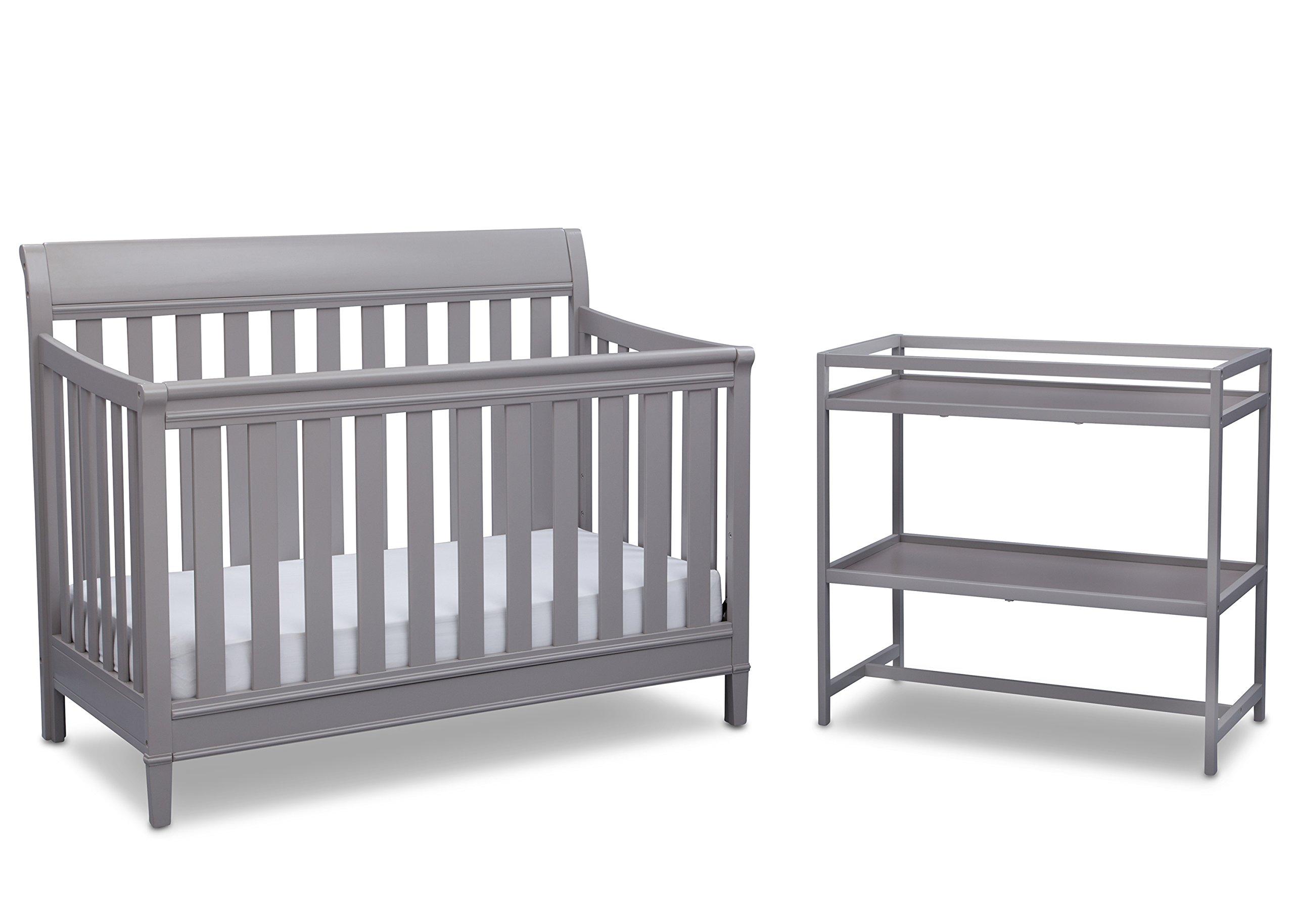 Delta Children Harbor 4-in-1 Convertible Crib with Bonus Changing Table, Grey