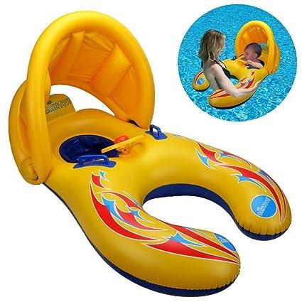 Bebé Flotador seguridad Kid s flotador inflable anillo de natación con toldo de protección UV