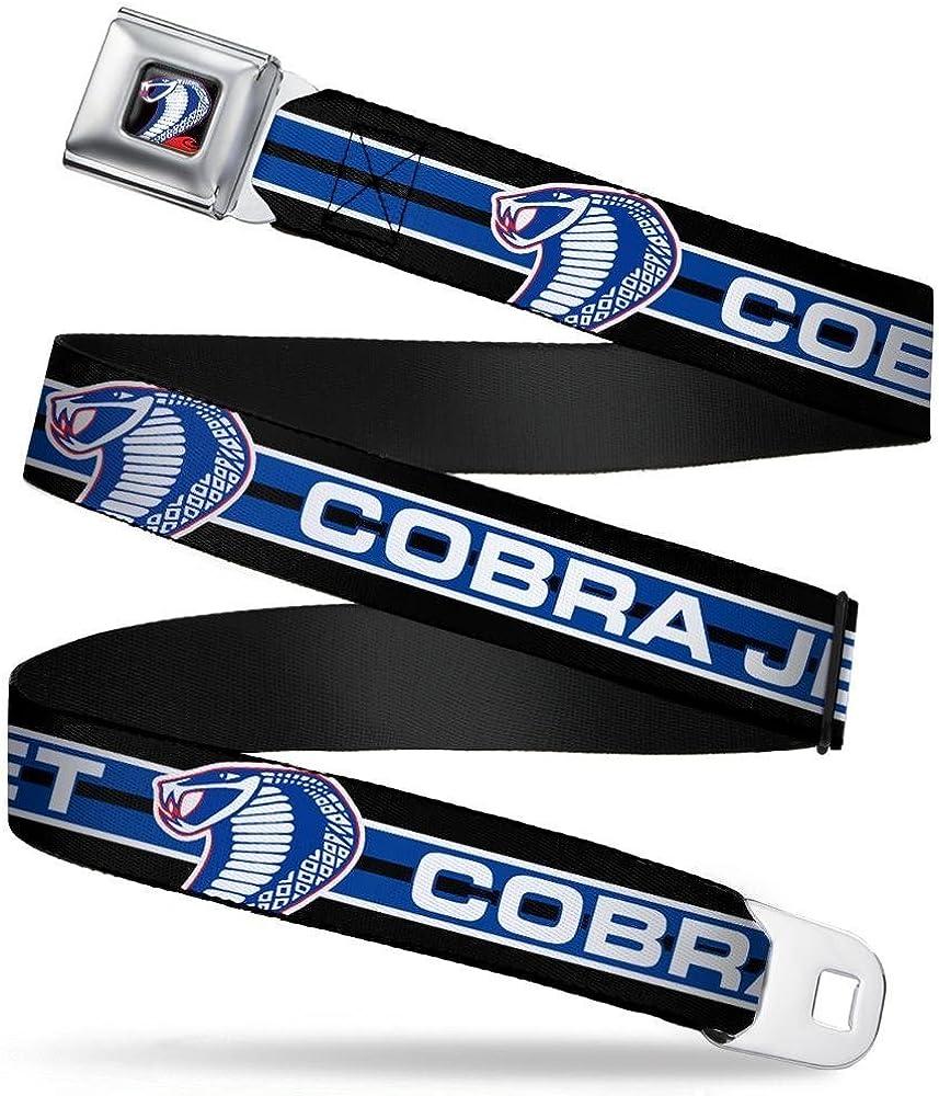 1.5 Wide Buckle-Down Seatbelt Belt COBRA JET//Cobra Head Stripe Black//White//Blue 32-52 Inches in Length