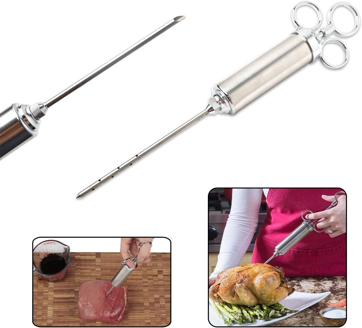 Chicken Turkey Mochiglory Stainless Steel Seasoning Injector Meat Syringe With 2 Professional Marinade Needles for Beef