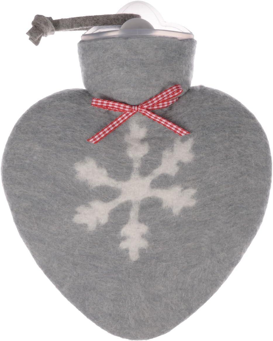 Herzw/ärmflasche 0,8 Liter mit Bezug aus Merinowolle gefilzt grau mit wei/ßer Schneeflocke von Dorothee Lehnen W/ärmflasche