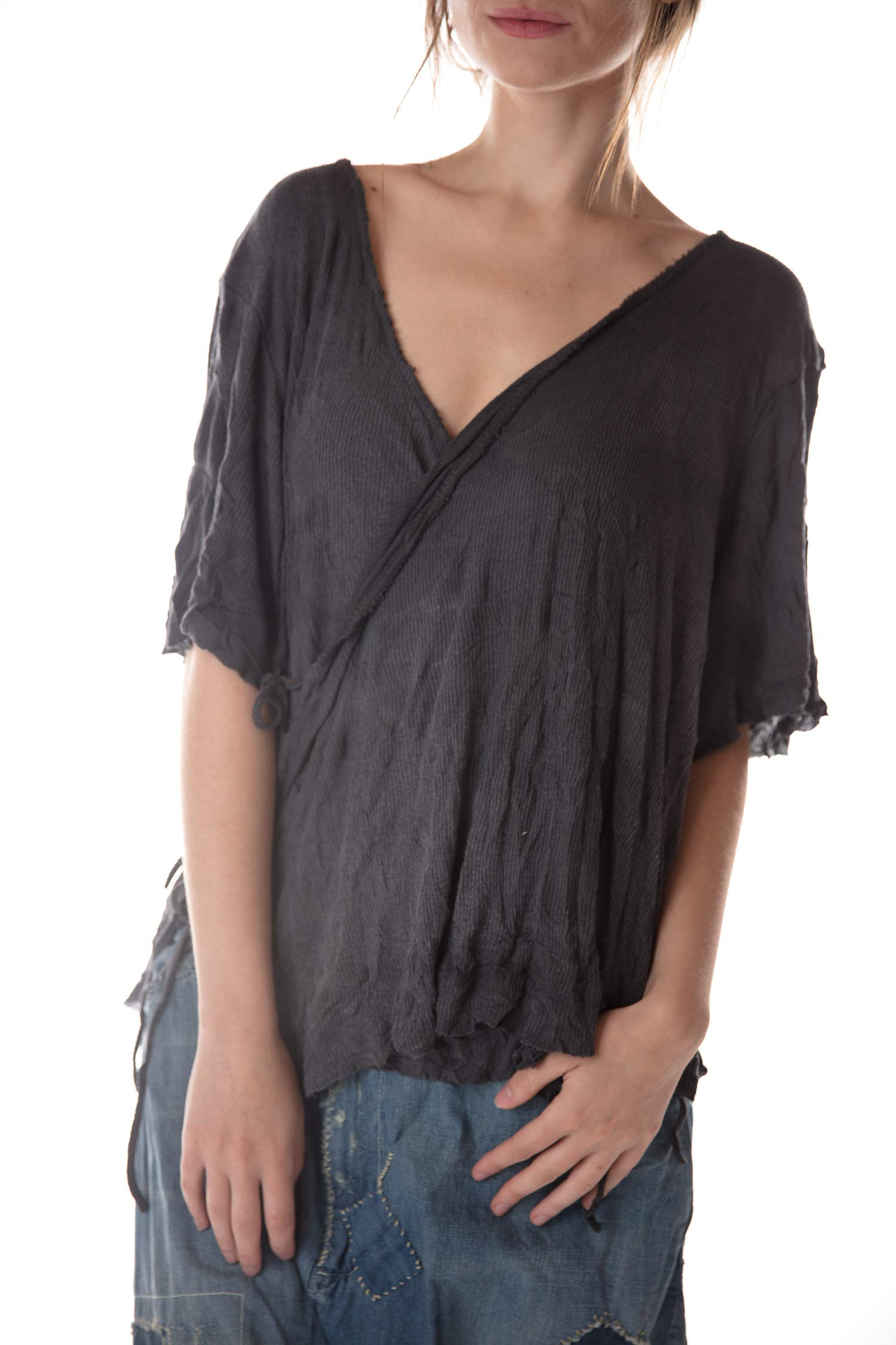 Magnolia Pearl Ribbed Cotton Jersey Origami Wrap Blouse with Dist by Magnolia Pearl
